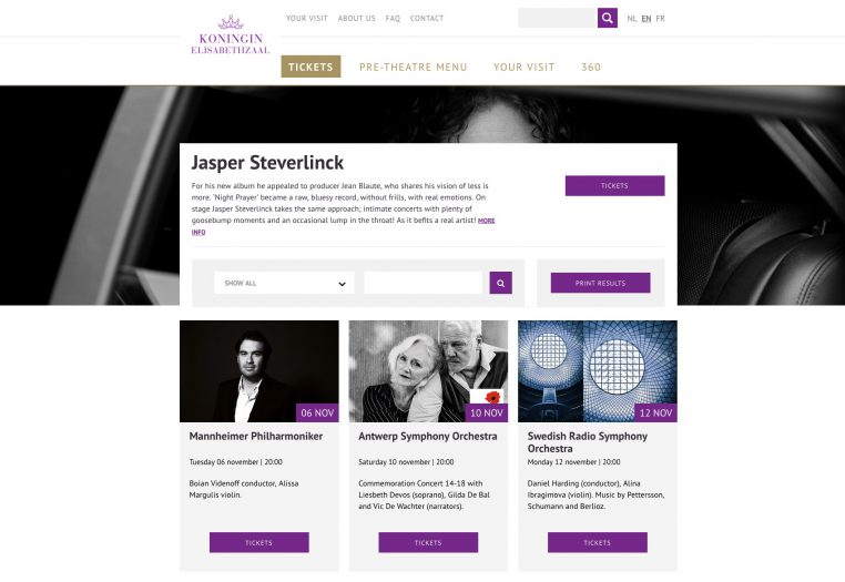 Queen Elisabeth Hall Website